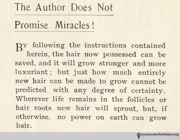 Disclaimer in Macfadden's 1901 Hair Culture.