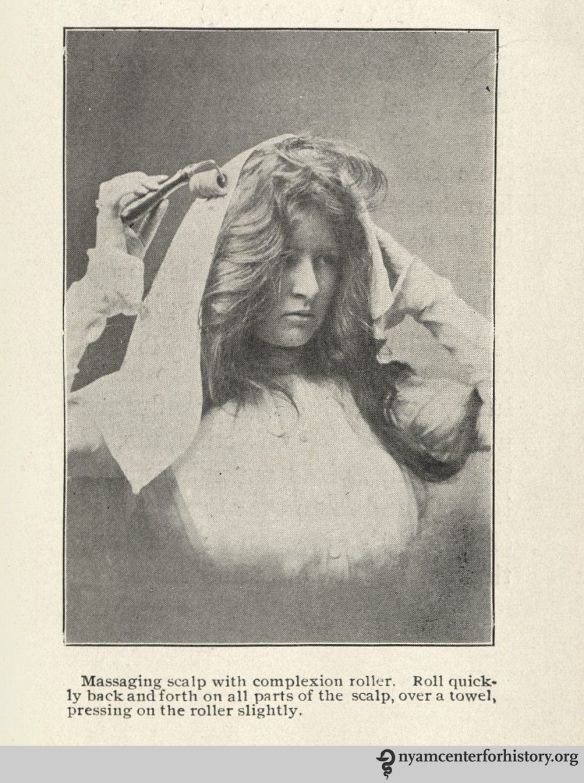 """Massaging scalp with a complexion roller."" From Macfadden's 1901 Hair Culture, page 33."