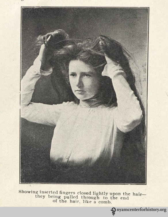 """Inserted fingers closed lightly upon the hair."" From page 38 of the 1901 Hair Culture."