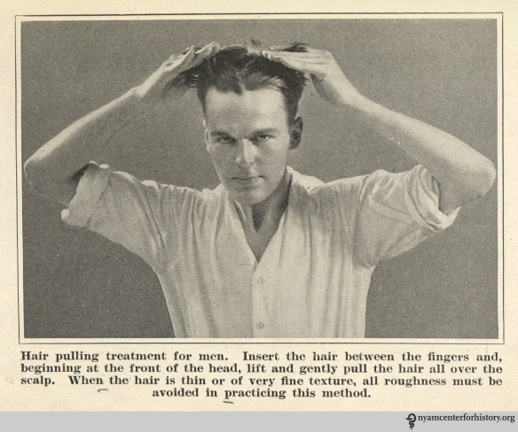 """Hair pulling treatment for men."" From page 129 of the 1922 Hair Culture."