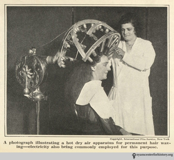 Macfadden did not approve of hot-dry apparatuses like the one shown on page 168 of the 1922 Hair Culture.
