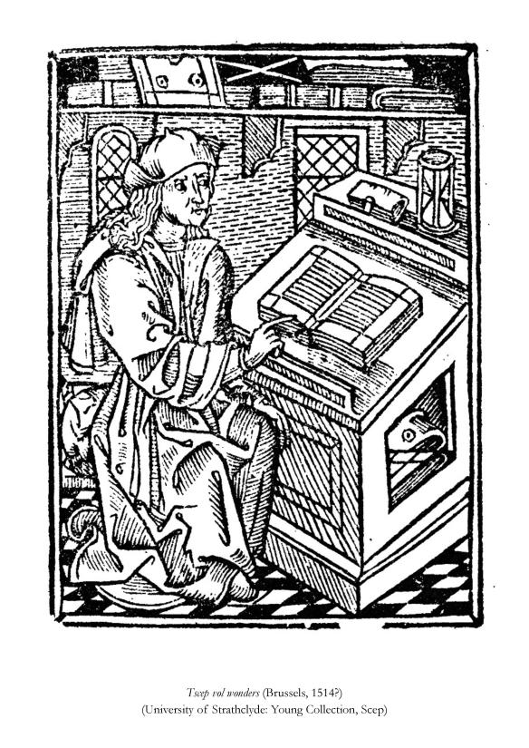 Page 4 of the coloring book from the University of Strathclyde's Archives and Special Collections, featuring Tscep von wonders, Brussels, 1514?
