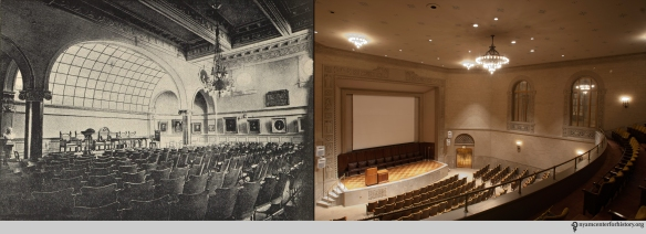 Left: Hosack Hall on West 43rd St. Image in Van Ingen, The New York Academy of Medicine: Its first hundred years, 1949. Right: Hosack Hall Today, at 1216 Fifth Avenue.