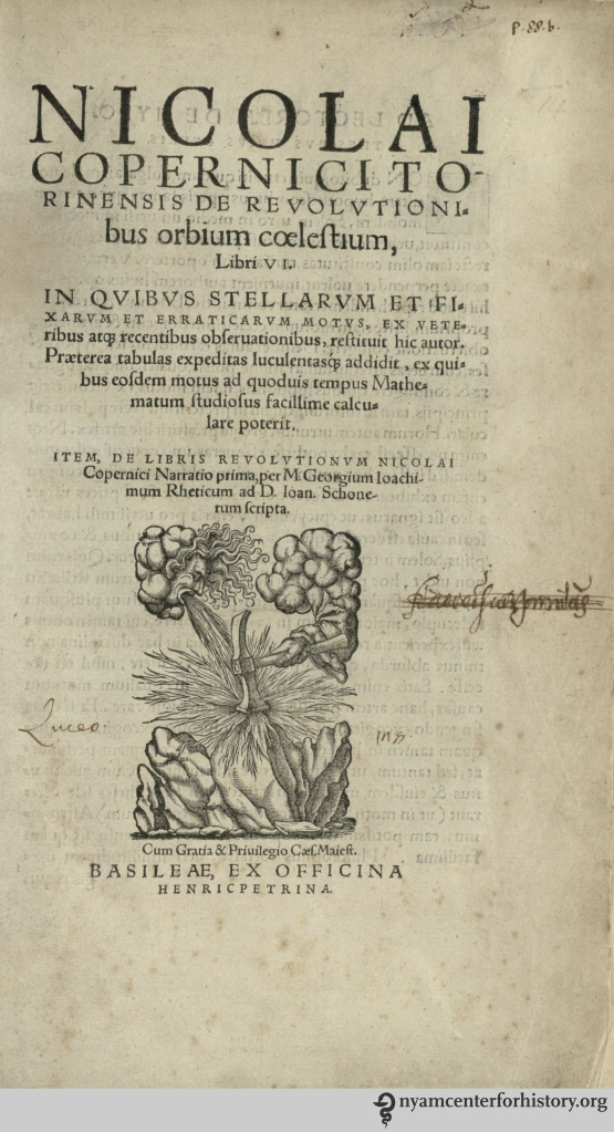 Title page of our 1566 edition of De Revolutionibus.
