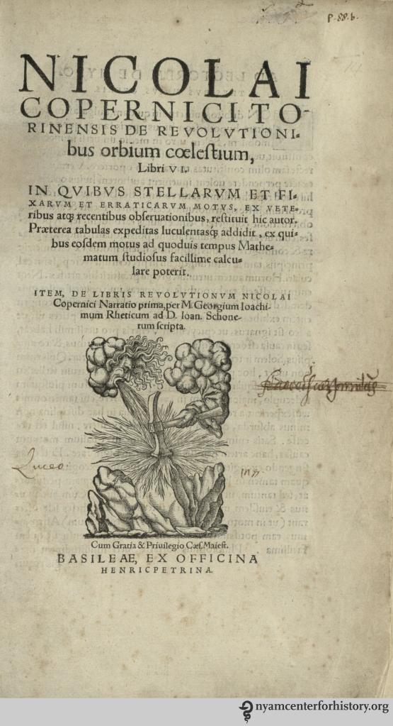 Title page of our 1566 edition of De Revolutionibus.