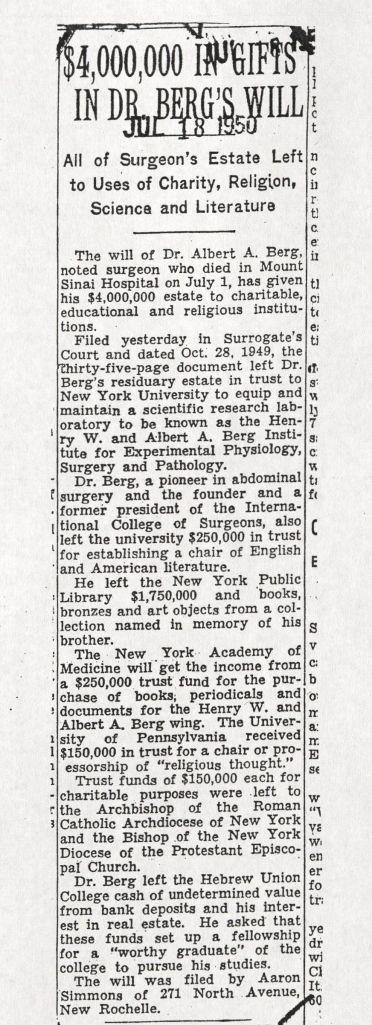 New York Times article from July 18, 1950 announcing Albert A. Berg's bequests, including to the New York Public Library and the New York Academy of Medicine.