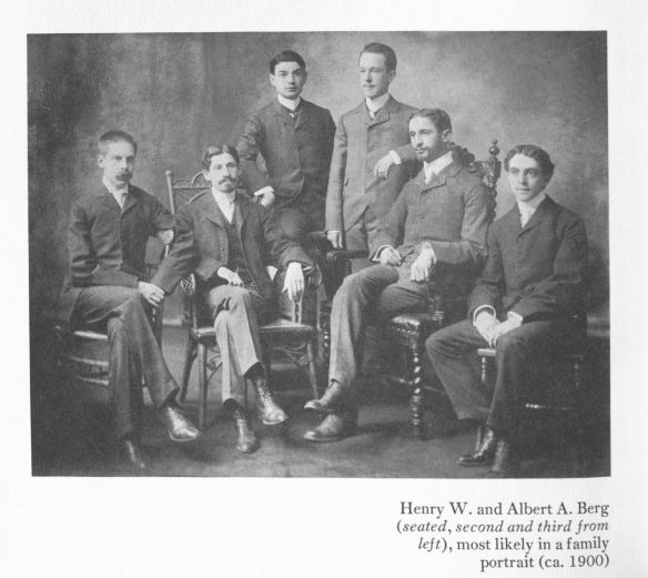 Henry W. and Albert A. Berg (seated, second and third from left), most likely in a family portrait (circa 1900). In Szladits, Brothers: The Origins of the Henry W. and Albert A. Berg Collection,1985.