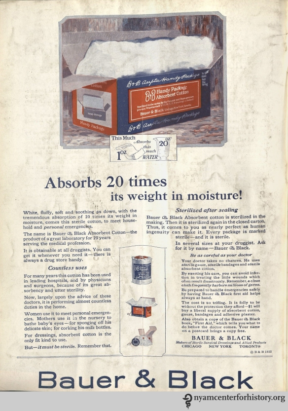 Bauer & Black Absorbent Cotton ad in Hygeia Magazine, August 1923. Click to enlarge.