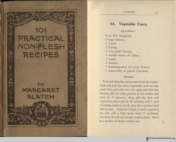 Vegetable Curry recipe in Blatch, 101 Practical Non-Flesh Recipes, 1917.