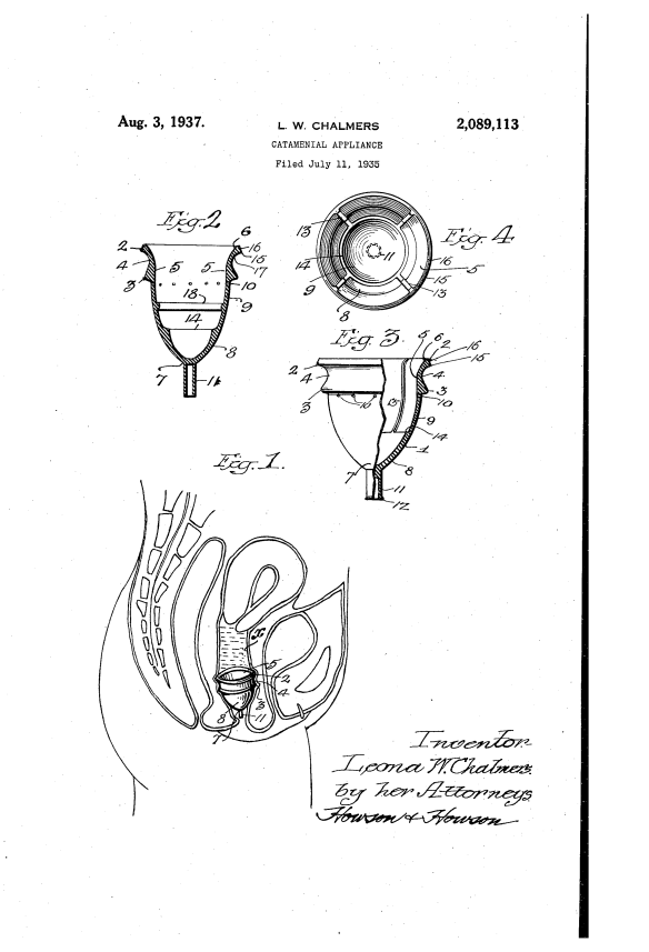 """Image from Leona Chalmers' 1937 patent for a """"catamenial appliance."""" Source: https://www.google.com/patents/US2089113"""