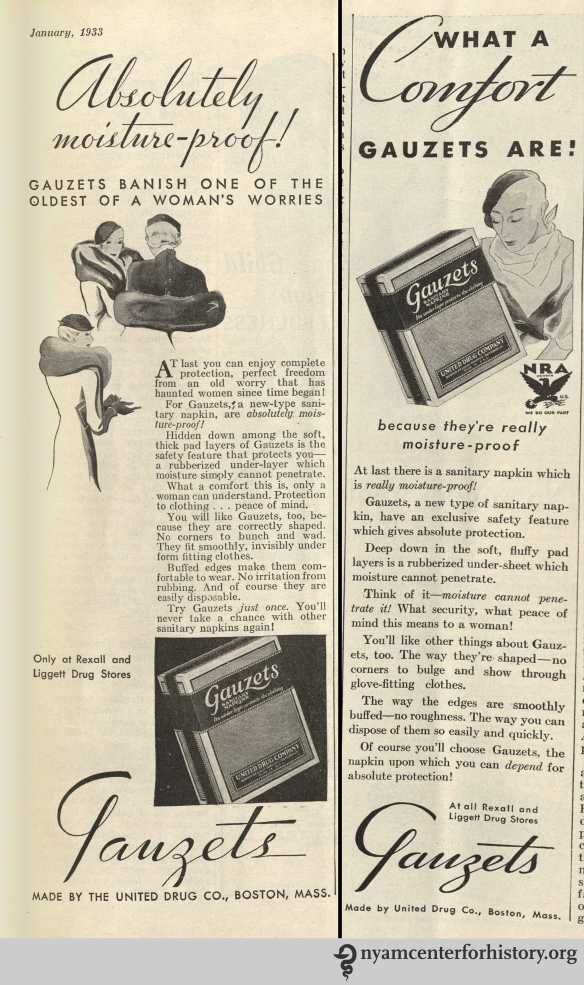 Gauzets ads from Hygeia Magazine, published in January and November 1933. Click to enlarge.