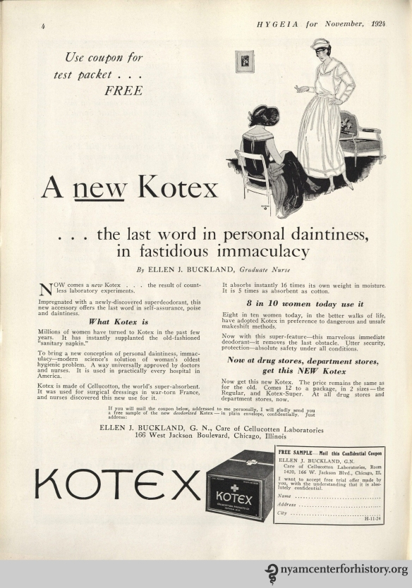 Kotex ad in Hygeia Magazine, November 1924. Click to enlarge.