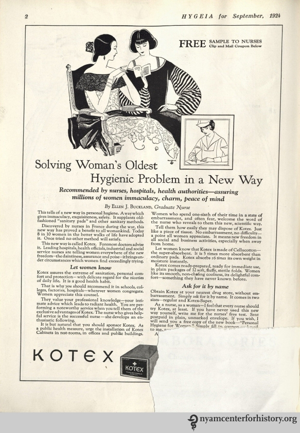 Kotex ad in Hygeia Magazine, September 1924.