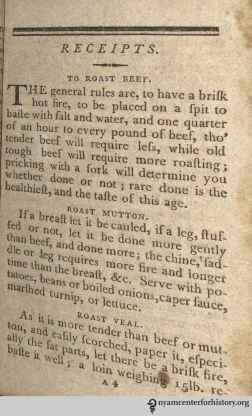 Amelia Simmons, the author of An American Cookery¸ certainly knew her ſtuff around the ſtove, as evinced by her aſſiduous inſtructions for the roaſting of meat. An American Cookery was firſt publiſhed in 1796, making Simmons the earlieſt known American cookbook author. The recipes ſeen here come from our copy, a third edition from 1804. One ſhould alſo take a ſcrupulous approach to the application of the ſ. For reaſons we don't underſtand but muſt reſpect, there is no capital ſ. This ſaddens us and we could not reſiſt making one exception to this rule, in our logo and ſociety name. Hiſtorically, writers have been inconſiſtent in the uſe of the ſ, but one rule holds conſtant: never uſe an ſ at the end of the word. Thoſe who flout this rule will ſuffer the ſcorn of the ſociety.