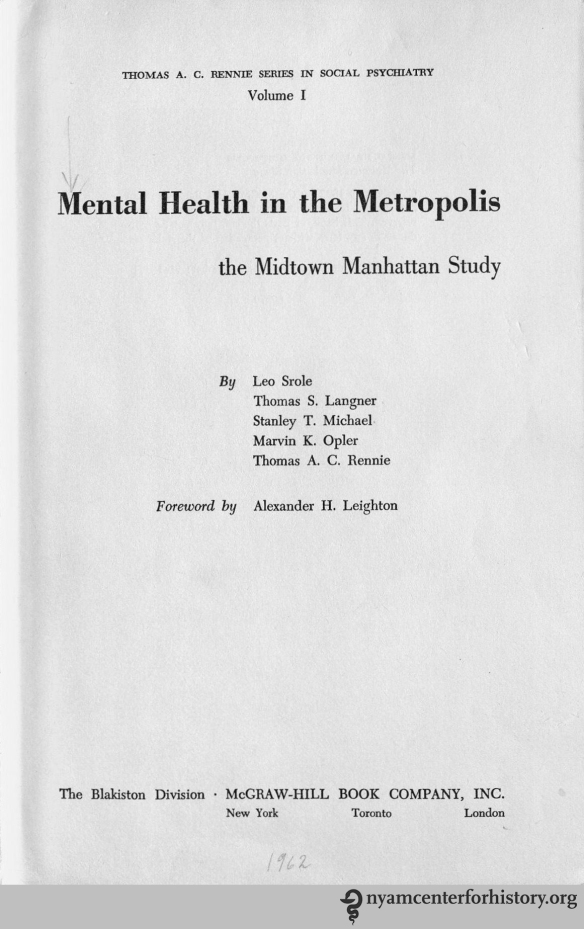 Title page of Mental Health in the Metropolis, 1962.