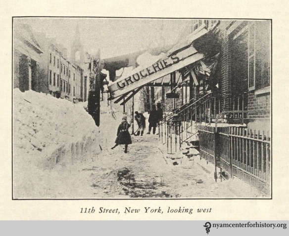 "11th Street, New York, looking west."" From Strong, The Great Blizzard of 1888."
