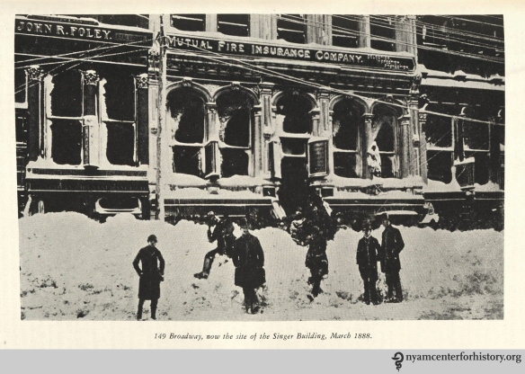 """149 Broadway, now the site of the Singer Building, March 1888."" From Strong, The Great Blizzard of 1888."