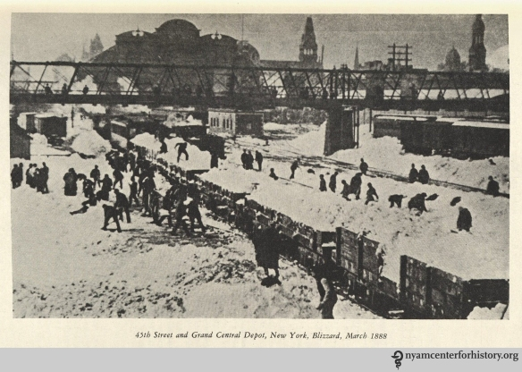"""45th Street and Grand Central Depot, New York, Blizzard, March 1888."" From Strong, The Great Blizzard of 1888."