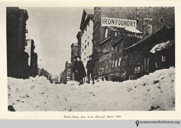 "Baxter Street, New York, Blizzard, March 1888."" From Strong, The Great Blizzard of 1888."