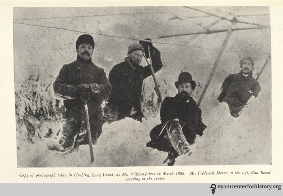 """Copy of photograph taken in Flushing, Long Island, by Mr. William James in March 1888. Mr. Frederick Morris at the left, Dan Beard standing in the center."" From Strong, The Great Blizzard of 1888."