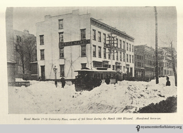 "Hotel Martin 17-19 University Place, corner of 9th Street during the March 1888 Blizzard. Abandoned horse-car."" From Strong, The Great Blizzard of 1888."