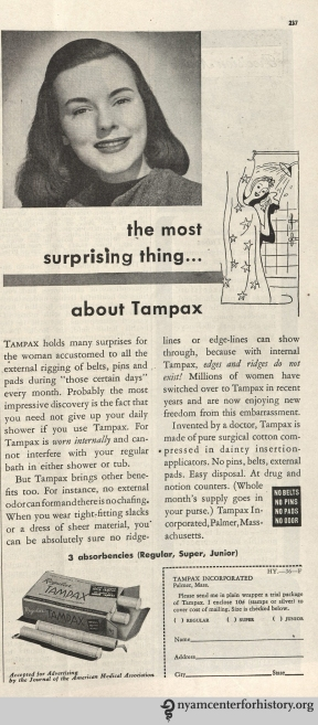 Tampax ad in Hygeia Magazine, March 1946. Click to enlarge.