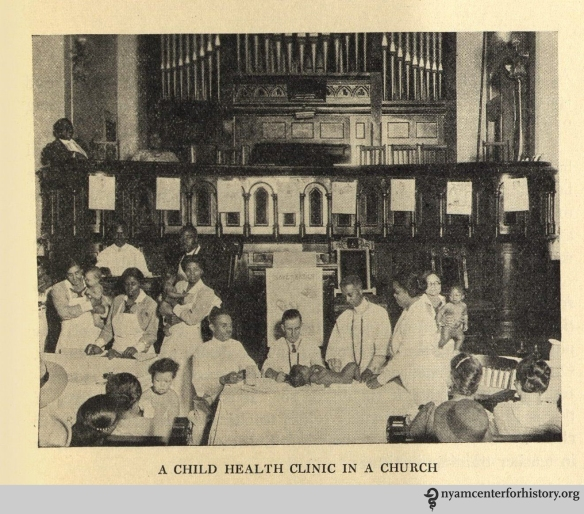 """A child health clinic in a church."" In The Goal of May Day, 1928."