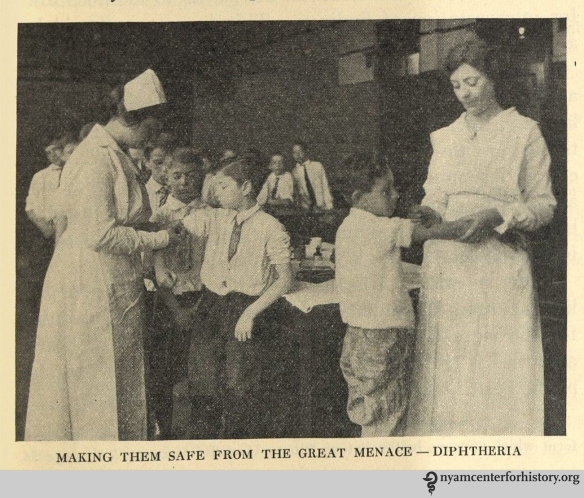 Making them safe from the great menace - diphtheria. In The Goal of May Day, 1928.