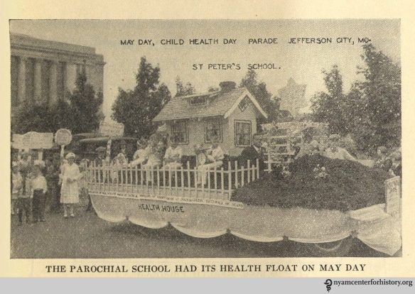 """The parochial school had its health float on May Day."" In The Goal of May Day, 1928."