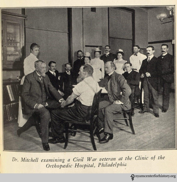 Dr. Mitchell examining a Civil War veteran at the Clinic of the Orhopaedic Hospital, Philadelphia. In Burr, Weir Mitchell: His Life and Letters, 1929.