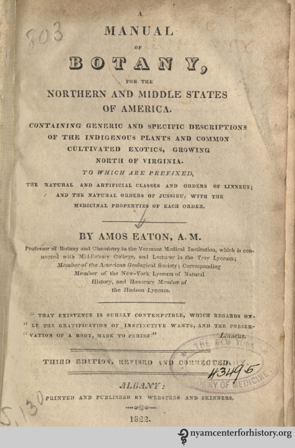 Title page of Eaton, Manual of Botany, 1822.
