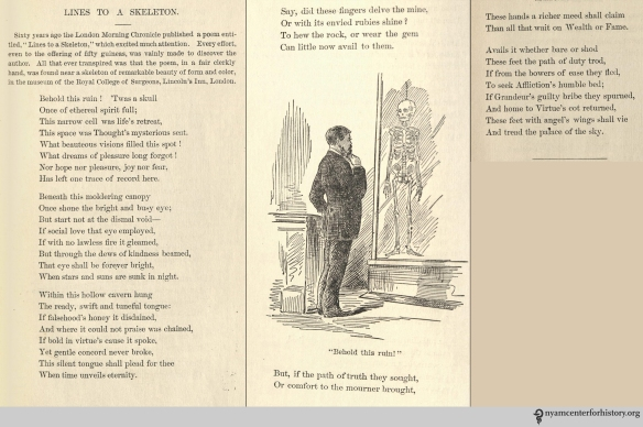 """Lines to a Skeleteon."" In Erichsen, Medical Rhymes, 1884. Click to enlarge."