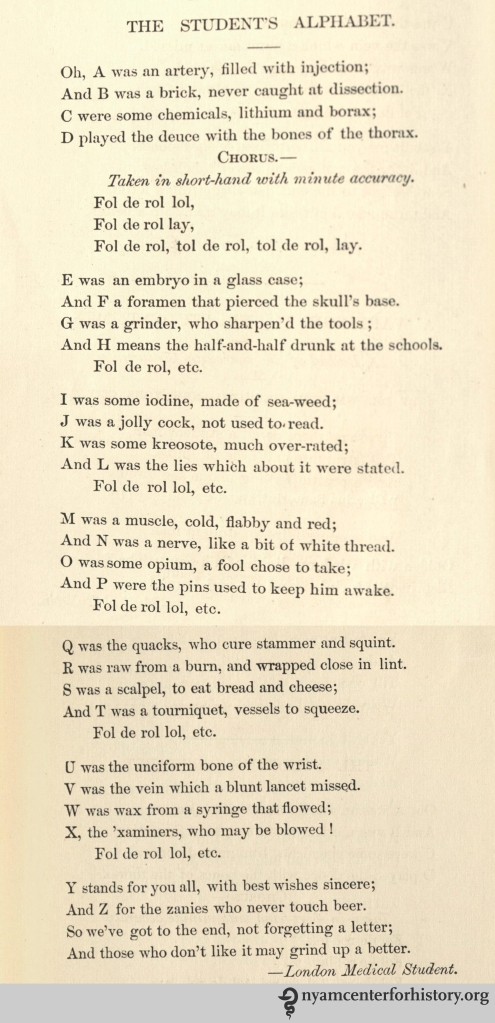 """The Student's Alphabet."" In Erichsen, Medical Rhymes, 1884. Click to enlarge."