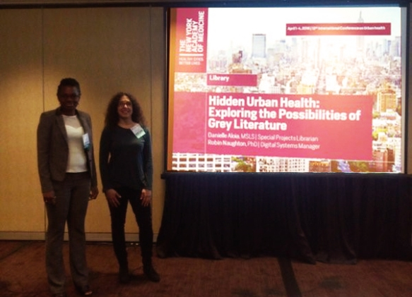 Robin Naughton and Danielle Aloia before the Hidden Urban Health: Exploring the Possibilities of Grey Literature session. Photo courtesy of ICUH.