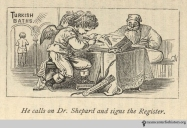 """He calls on Dr. Shepard and signs the register."" In Shepard, The Turkish Bath, 1873."