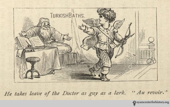 """""""He takes leave of the Doctor as gay as a lark. 'Au Revoir.'"""" In Shepard, The Turkish Bath, 1873."""