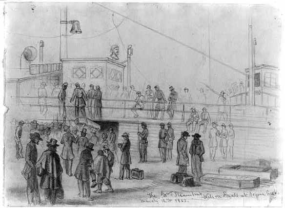 """The Sanitary Commission used the side-wheel steamboat Wilson Small as its headquarters for much of the Peninsula campaign."" Olmsted Papers, 4:331, n1. This drawing, from the collections of the Library of Congress, portrays the ship at harbor in Aquia Creek, Virginia, March 12, 1863."