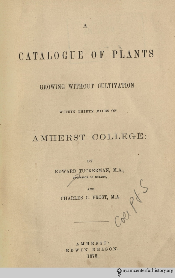 Title page of Tuckerman and Frost's A Catalogue of Plants, 1875.