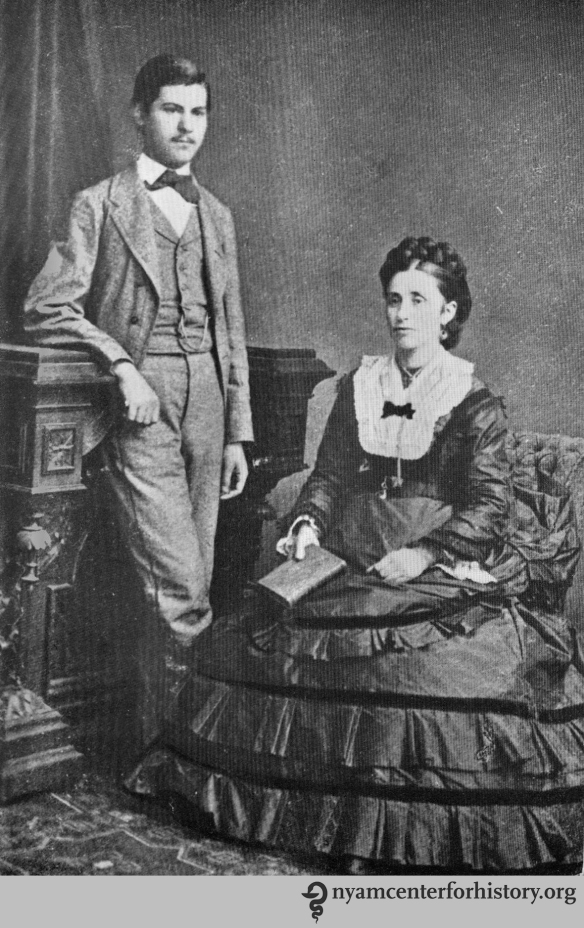 Freud with his mother Amalie, circa 1872. In The Freud centenary exhibit of the American Psychoanalytic Association, 1956.