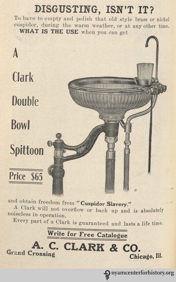 Bowl Spittoon advertisement in the American Journal of Dental Science, vol. 39, no. 4, April 1908.