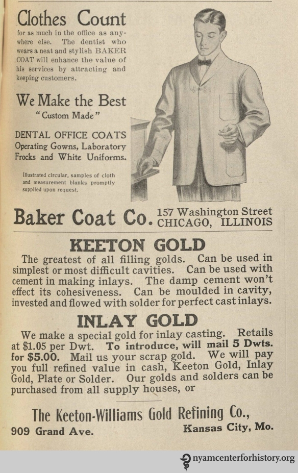 Baker Coat Co. and Keeton Gold advertisements in the American Journal of Dental Science, vol. 39, no. 4, April 1908.