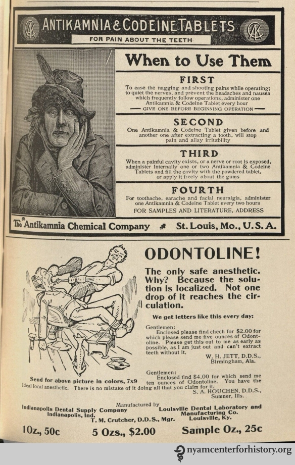 Antikamnia and Odontoline advertisements in advertisements in the American Journal of Dental Science, vol. 39, no. 4, April 1908.