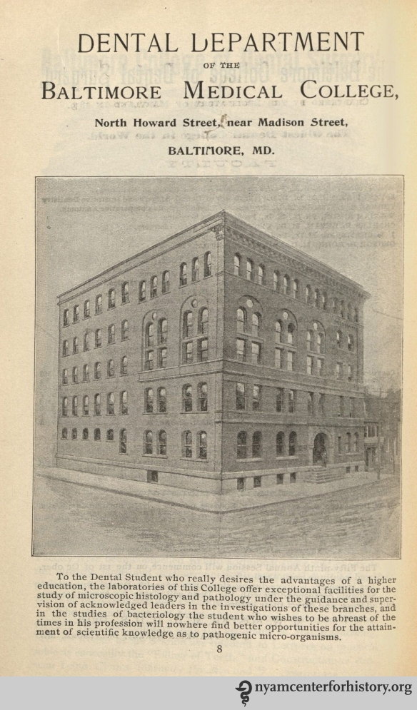 Ad for the Dental Department of the Baltimore Medical College in the American Journal of Dental Science, vol. 33, no. 10, February 1900.