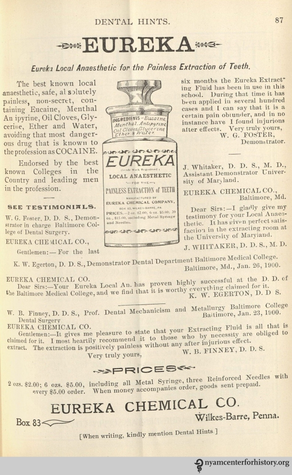 Advertisement for Eureka Local Anaesthetic in Dental Hints, vol. 3, no. 2, February 1901.