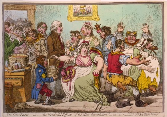 "James Gillray's ""The Cow Pock – or – the Wonderful Effects of the New Inoculation,"" published June 12, 1802, by H. Humphrey, St. James's Street. Image courtesy of the Library of Congress."