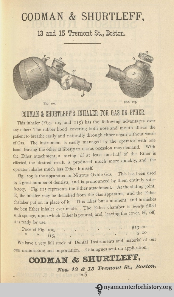 Codman & Shurtleff's Inhaler for Gas or Ether advertisement in Dental and Oral Science Magazine, vol. 1, no. 2, May 1878.