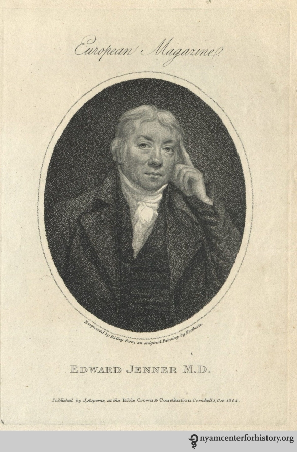 Engraving of Edward Jenner by William Ridley from an original painting by James Northcote.