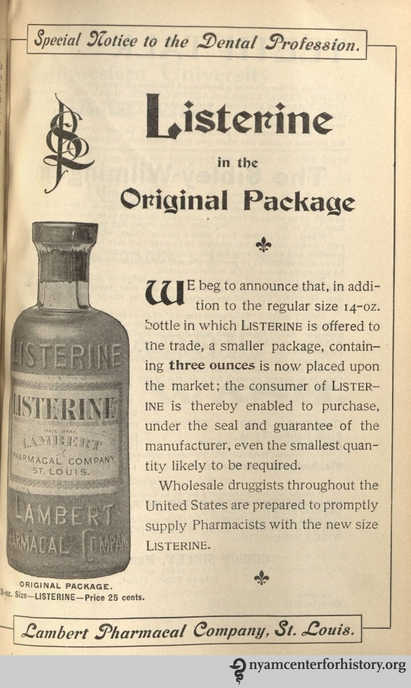 Listerine advertisement in the American Journal of Dental Science, vol. 33, no. 10, February 1900.