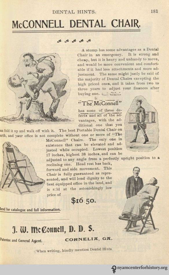McConnell Dental Chair advertisement in Dental Hints, vol. 3, no. 4, April 1901.
