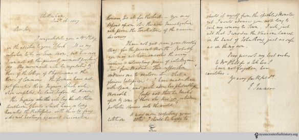 In an autograph letter signed to Mr. Phillips, dated Jan. 16, 1807, Edmund Jenner discusses the ongoing vaccination controversy and offers advice for vaccinating Phillips' new baby.